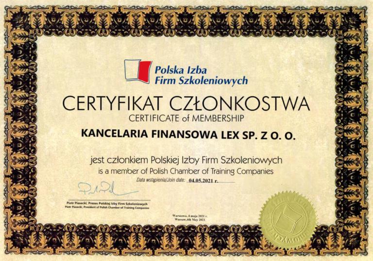 Polska Izba Szkoleniowa certyfikat